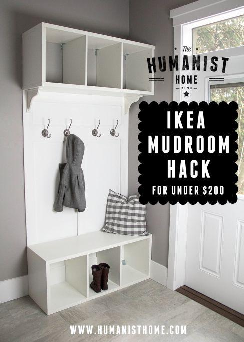 Diy make your own ikea hack mudroom bench storage for Ikea shelf bench hack