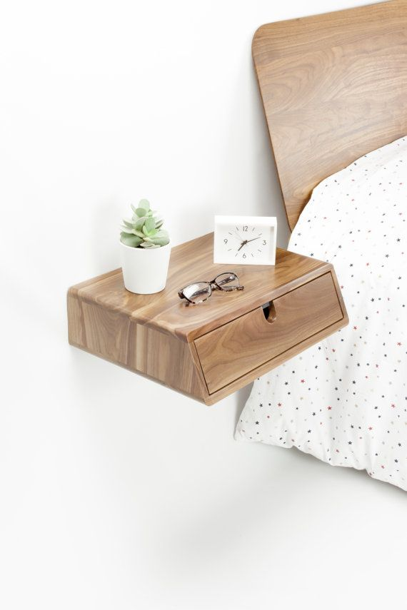 Sleek and contemporary solid wood hand crafted bedside table & nightstand  floating drawer The nightstand is designed to float on the wall, attached to  the ...