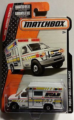 2015 Matchbox MBX Heroic Rescue Ford F-350 Santa Ursula California Ambulance New in Box Mattel