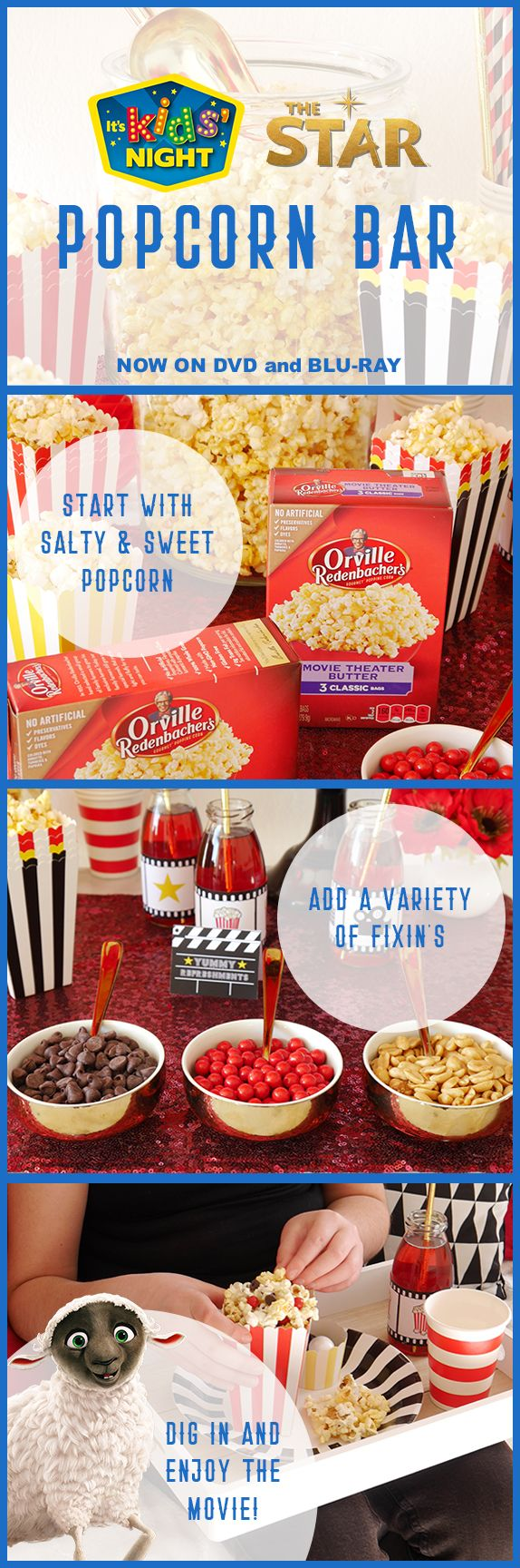 Pick up everything you need for this DIY Popcorn Bar at Walmart. #TheStarMovie
