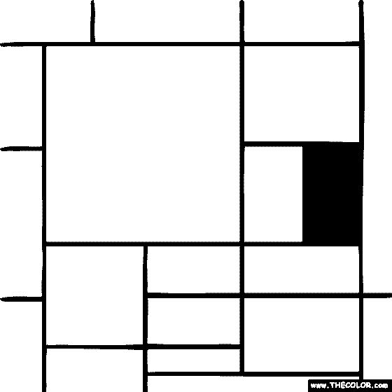 100 free coloring page of piet mondrian painting