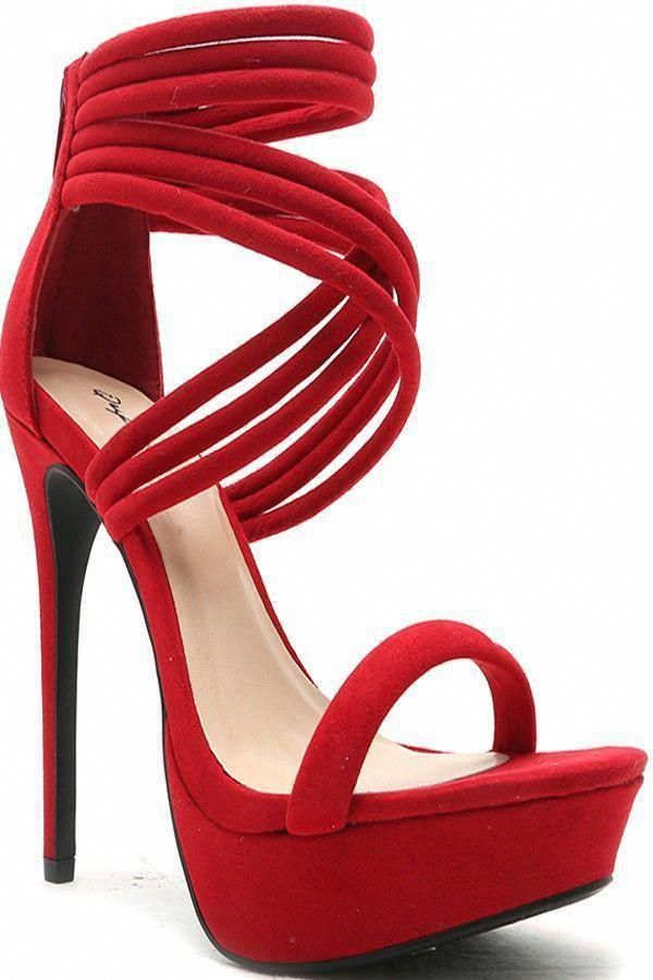 97cf9645ae RED FAUX SUEDE ZIPPER BACK CRISS CROSS HIGH HEEL,Women's Heels-Sexy Heels,Sexy  High Heels,High Heels Shoes,High Heels Pumps,6 Inch Heels,Stiletto Heel ...