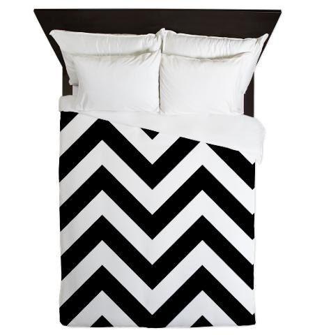 Duvet Cover - Black and White Chevron Duvet Cover - Glamour Decor - Fashion Decor - Dorm Decor - Teen Room Decor - Girls Room on Etsy, $180.00