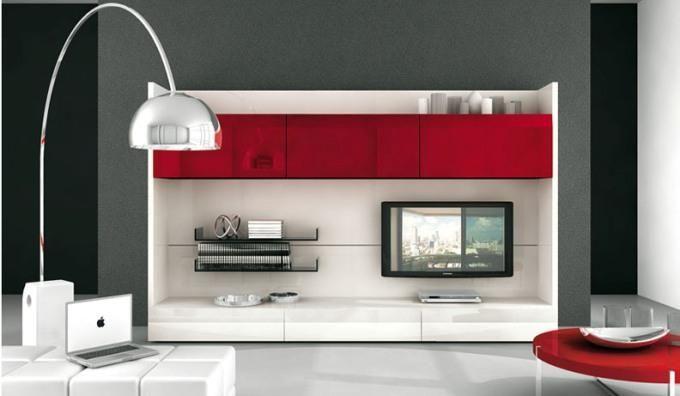Современные стенки под телевизор белая с красными шкафчиками