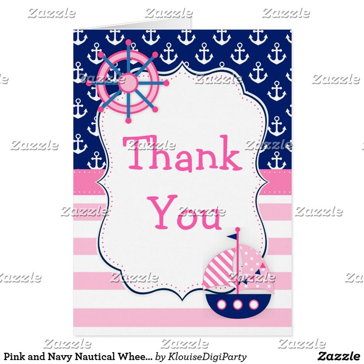 Pink and Navy Nautical Wheel and Boat Thank You Card