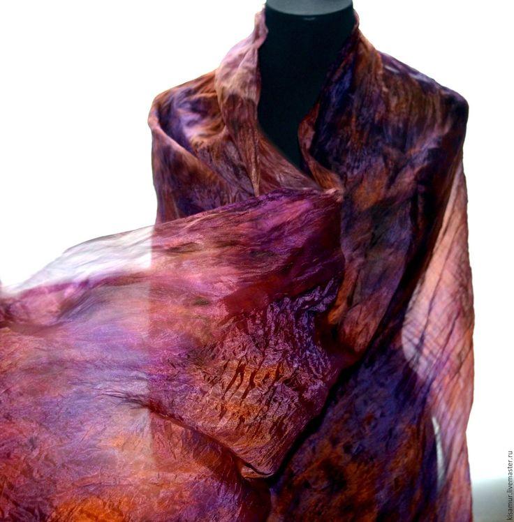 Купить шарф женский шелковый фиолетово оранжевый шарф длинный - шарф шелковый, шарф большой