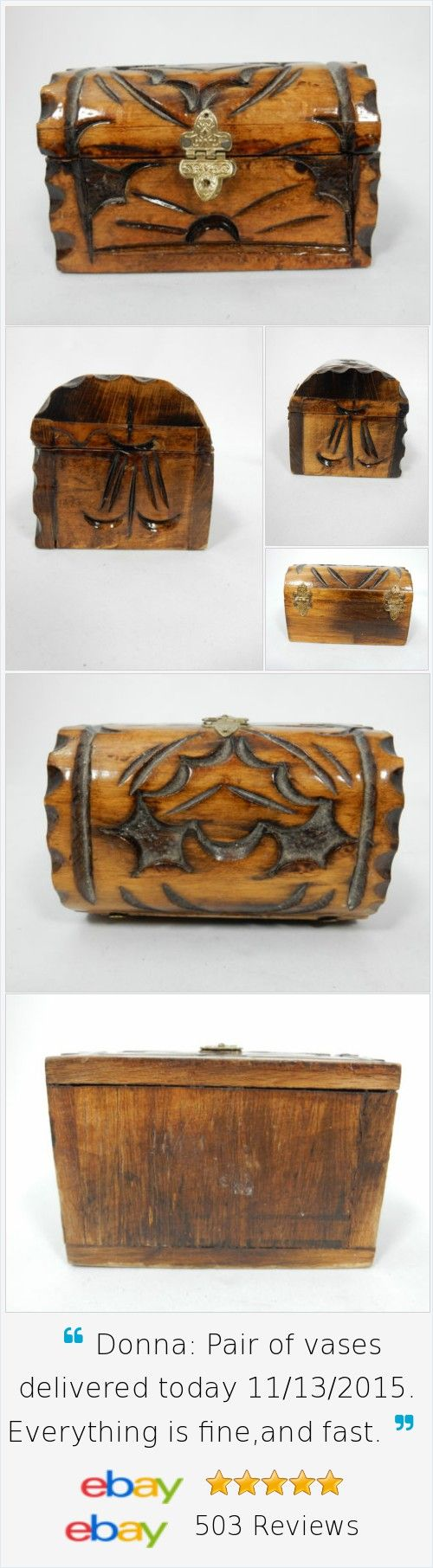 Wooden Hump Back Trunk Trinket Box Hand Carved Vintage
