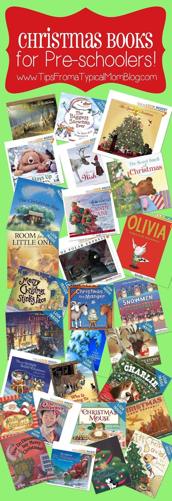 25+ Preschool Christmas Book List.  This is an awesome list of books to read with your preschooler.  The list includes religious and non-religious books too. #christmasbooklist #christmas
