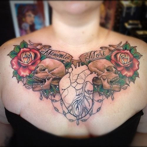 36 Amazing Chest Tattoos for Women and Girls (16)