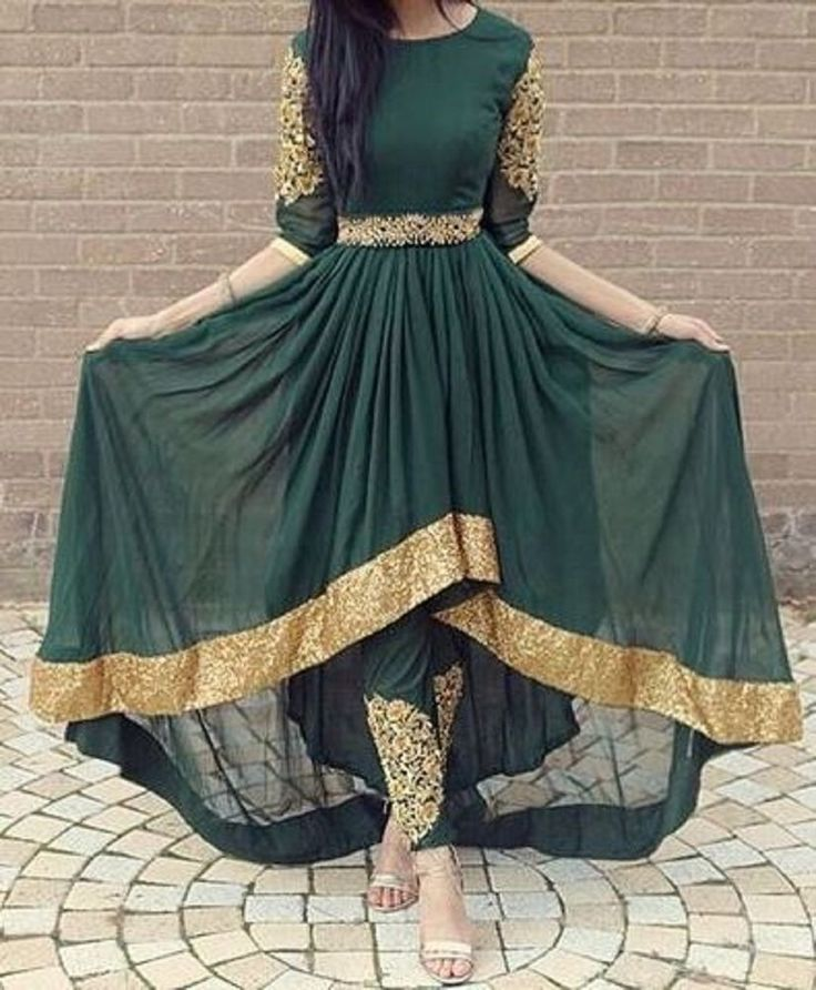 FatimaBi Plus size Fashion Indian Wedding Embroidery Green Anarkali Kameez Dress #FatimaBi #AnarkaliKameez