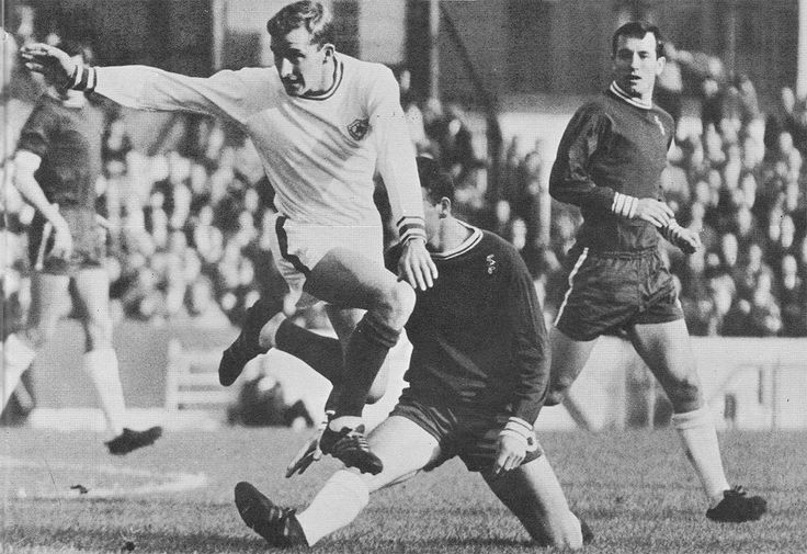 23rd October 1965. Leicester City inside forward Ian Gibson tackled by Chelsea full back Eddie McCreadie, at Stamford Bridge.