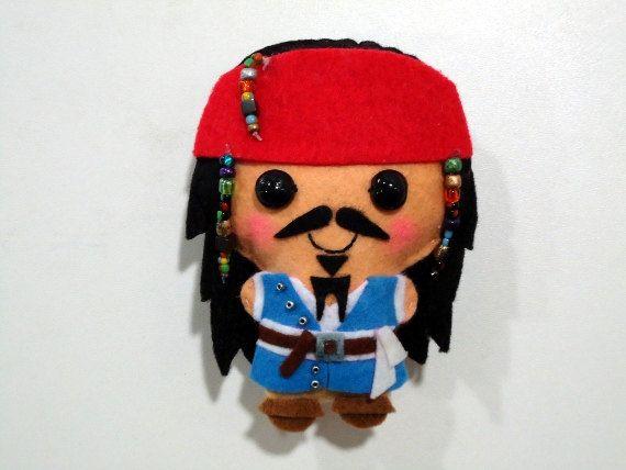 Jack Sparrow felt plush doll in a kawaii style  use as pin