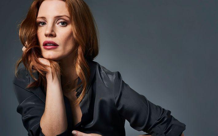 Hämta bilder Jessica Chastain, porträtt, vacker kvinna, amerikansk skådespelare, rött hår