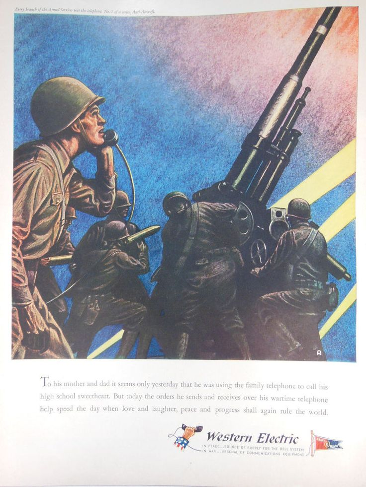 WESTERN ELECTRIC AD 1943 original vintage WII WW2 military artillery advertising