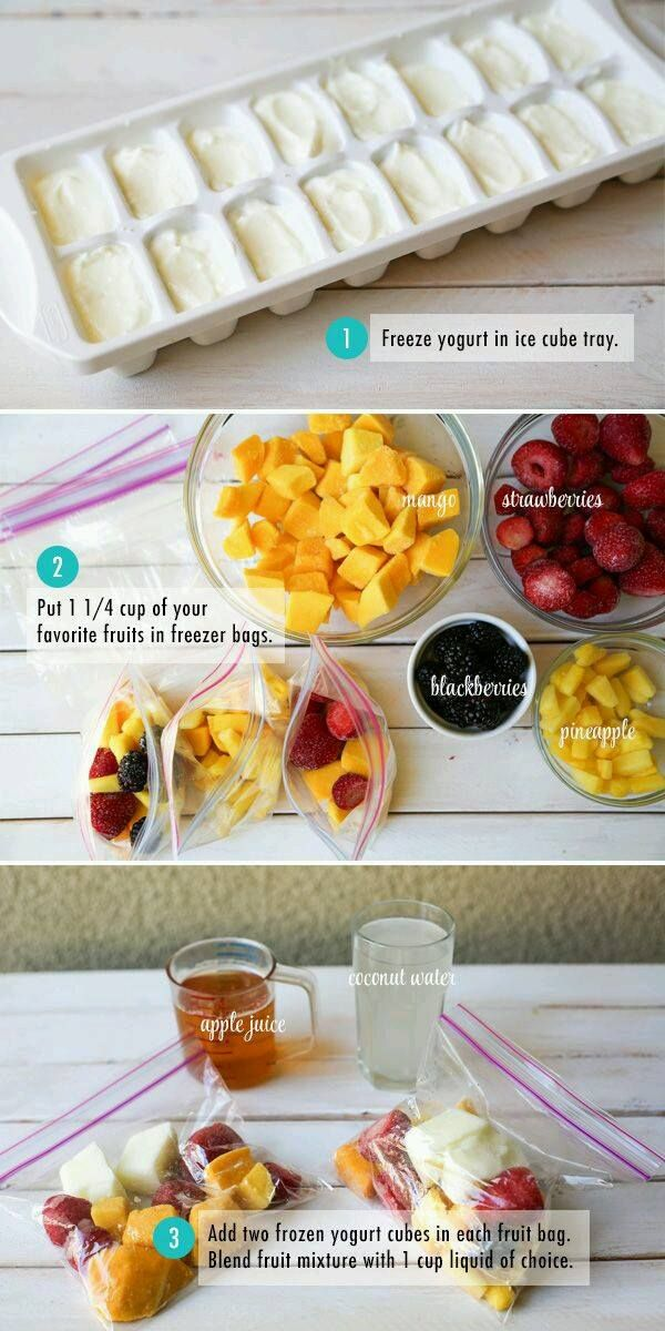 Frozen yogurt cubes with fruit and then add your choice of liquid.