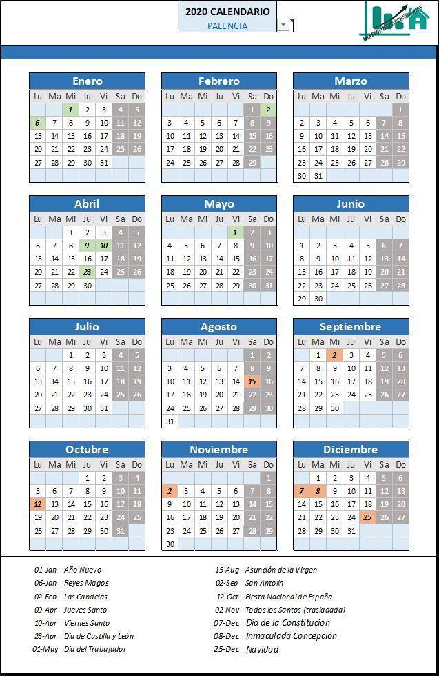 Calendario Laboral Palencia 2020 Mis Finanzas Personales In 2020