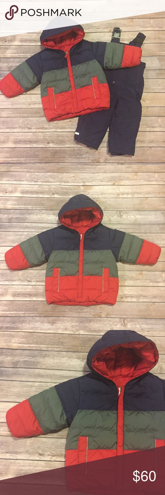 Hanna Andersson Snow Suit, Size 80 Hanna Andersson Snow Suit, Size 80, navy ski bins and reversible, down, hooded ski coat.  Such a cozy set!  Little guy was cozy as ever on the ski hill. ❤ Hanna Andersson Jackets & Coats