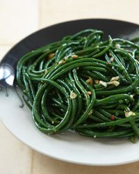 Gingered Green Beans.  Very simple.  Miles better than that awful canned-soup-and-canned-onions stuff.