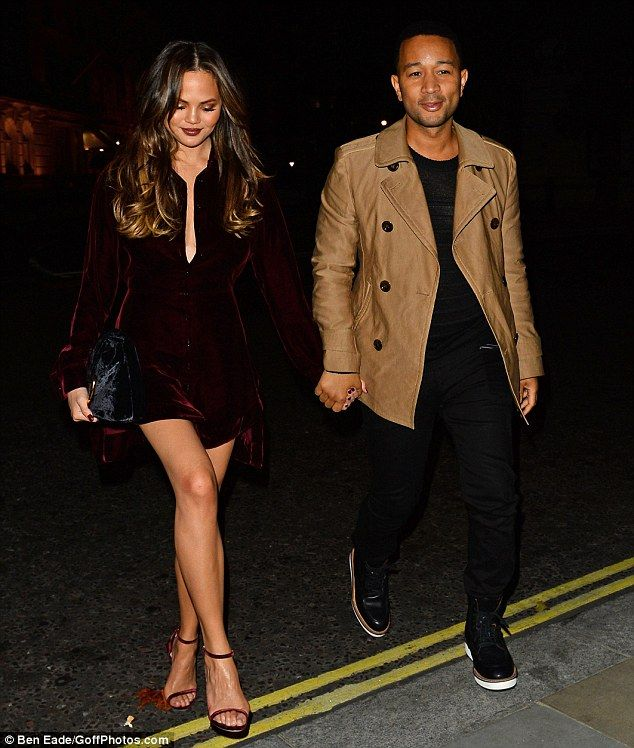 Stunner: Chrissy Teigen turned heads when she left the studios and headed back to her London hotel, hand in hand with her love John Legend