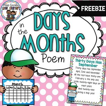 Days in the Month Poem: 30 Days has September:This days in the months poem has been around for decades! Now you can print (and enlarge to A3 if you like) and display it in your room to help your little ones learn how many days there are in each month :)Best of all- its FREE!*****************************************************************For more teaching ideas, freebies and resources, click on the Follow Me at the top of this page.All new products (excluding bundles) are 50% off for the…