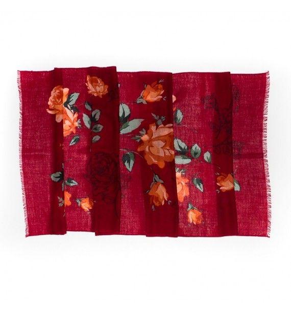 Esarfa fina din lana si cashmir, bordo cu trandafiri, Tie-Me-Up