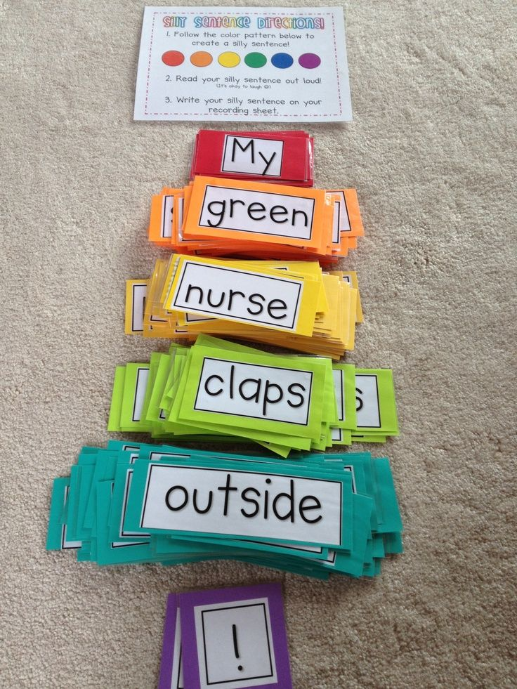 """Silly Sentences"" ... Practice the parts of speech and build a sentence with a pronoun (red), adjective (orange), noun (yellow), verb (green), adverb (blue), and punctuation (purple)."