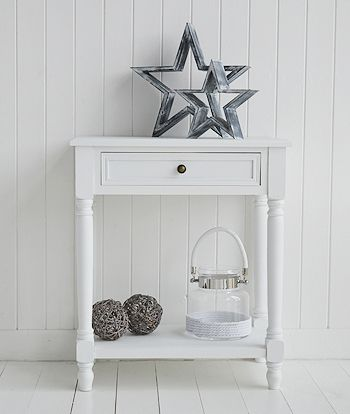 Living room furniture for a country cottage home.  Cove bay large white lamp table for your white room