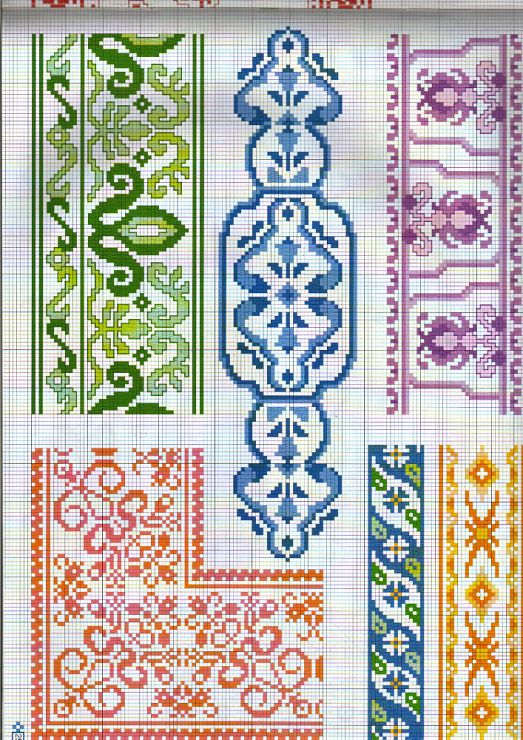 Cross-stitch Borders... no color chart available, just use the pattern chart as your color guide.. or choose your own colors... Gallery.ru / Фото #24 - 1 - Auroraten
