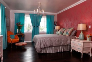 French and Moroccan inspired bedroom - floor to ceiling drapes