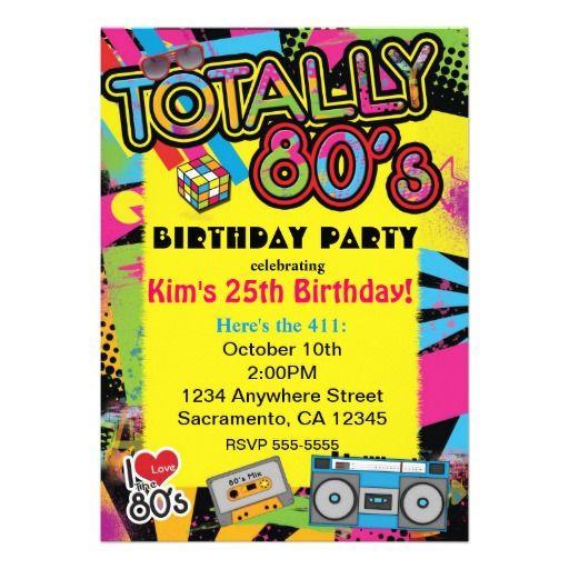 Totally 80u0027s Retro Birthday Party Invitation