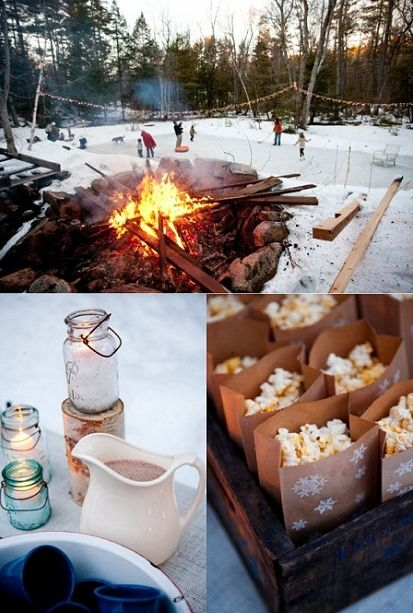 Ice skating-I think this is such a great idea having a ice skating party with hot cocoa, popcorn, and a bon fire!