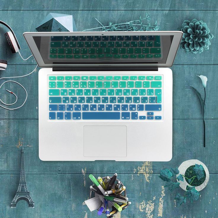 """Silicone EU/UK Russian alphabet Gradient Colors Keyboard Cover Stickers Protector for MacBook Air 13"""" MacBook Pro 13"""" 15"""" Retina"""