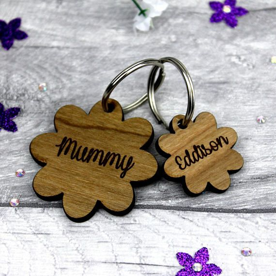 Personalised Keyring for Mum-Mother's Day Keyring-Mummy Keyring-wooden keyring personalised-Family Name Keyring-Personalised gift for mum    £7.99+