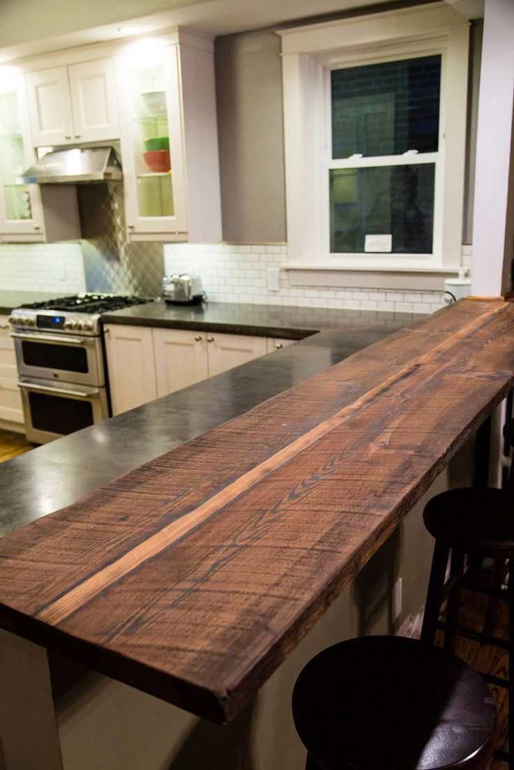 Reclaimed Wood Breakfast Bar | Kitchen Remodel in 2019