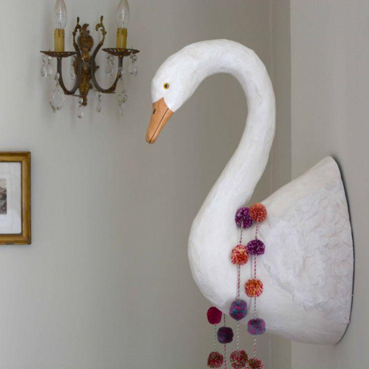 Paper Mache Bird - Swan