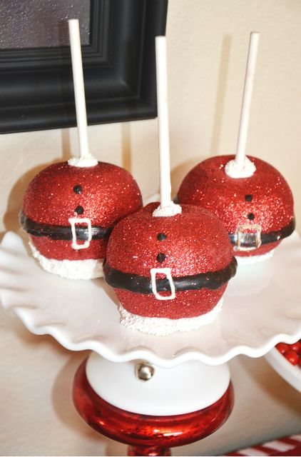 Sparkly caramel apples at a Christmas party!  See more party ideas at CatchMyParty.com!  #partyideas  #christmas