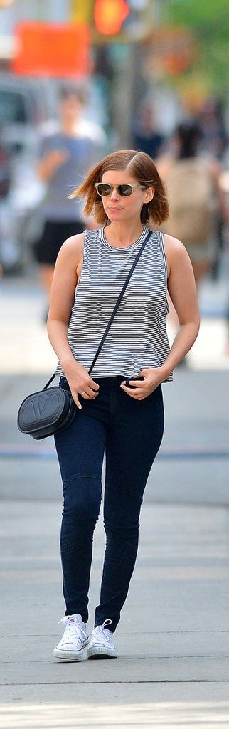 Kate Mara in a Forever 21 Striped Boxy Tank ($15).