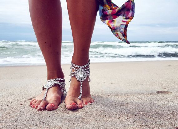 Beach Wedding Barefoot Sandals,Bridal Foot Jewelry,Boho Slave Anklet,Wedding Anklet,Bridesmaid Accessories,SAYEN design by benelipots. Explore more products on http://benelipots.etsy.com