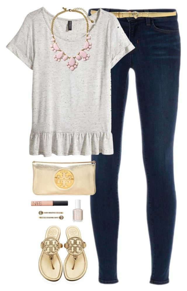 """""""worth your weight in gold"""" by classically-preppy ❤ liked on Polyvore featuring J Brand, Prada, H&M, Tory Burch, NARS Cosmetics, Essie, Henri Bendel and Kate Spade"""