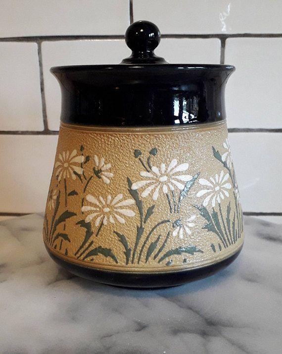 Vintage Storage Jar Floral Daisy Pattern 1950s Vintage Etsy Daisy Pattern Jar Storage Stoneware Pot