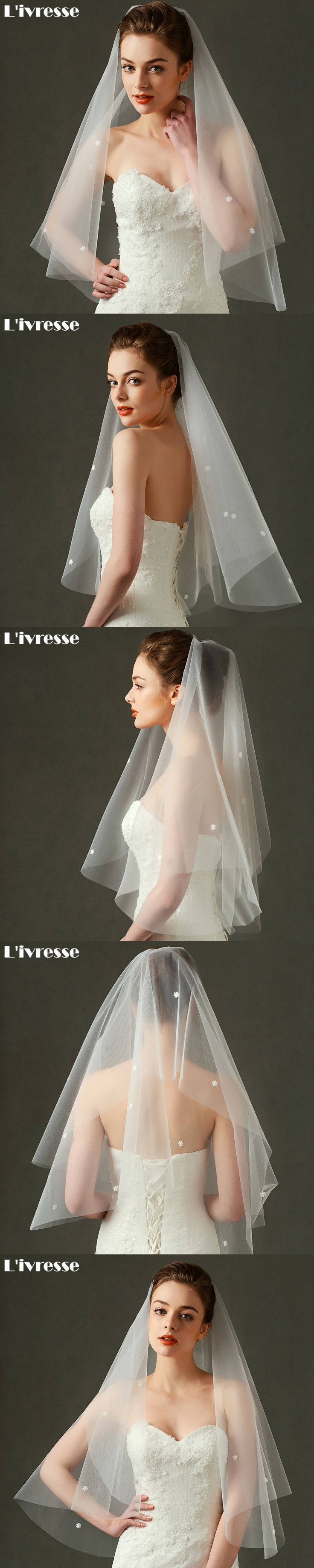 Cheap In Stock Ivory Wedding Veil Short 2017 Cut Edge Bridal Veils With Appliques Wedding Accessories Velo De Novia