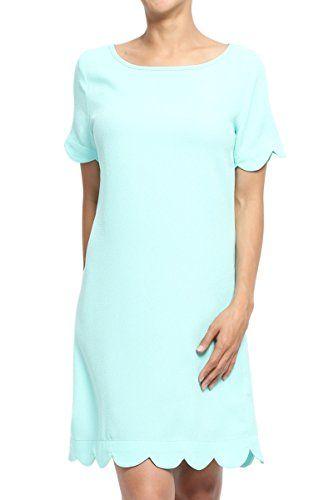 TheMogan Women's Scalloped Hem Short Sleeve Shift Dress A...