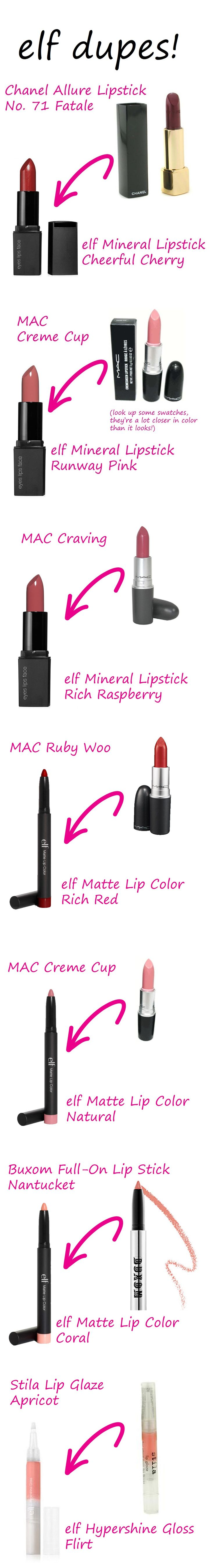 elf Lipstick Dupes! More cruelty free alternatives! Buxom is cruelty free so elf is an inexpensive alternative