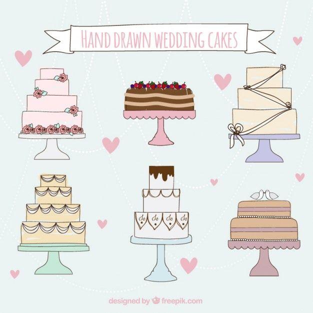 Free vector Hand drawn wedding cakes #33852