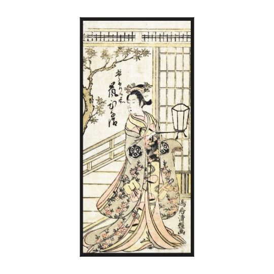 Japanese wall art is incredibly beautiful especially anything that has geishas, cherry blossoms, japanese friendship gardens and bridges.  I particularly love some of the japanese wall fans and other oriental wall art available.  Cool japanese vintage ukiyo-e geisha lady scroll canvas print