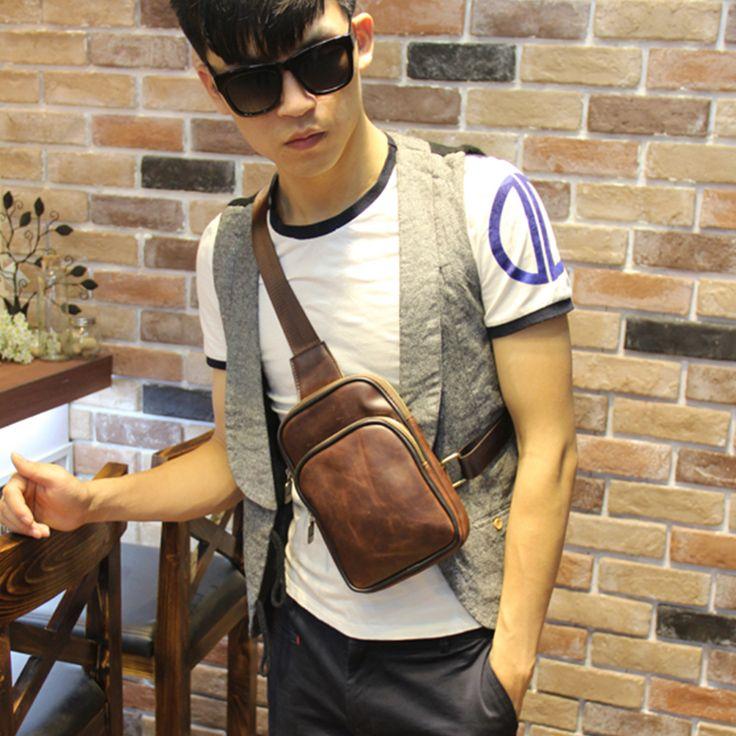 Qualidade PU de couro saco peito vindima homens estilingue sacos telefone crossbody sacos de peito pacote peito sling pacote móvel bolsa masculina homens