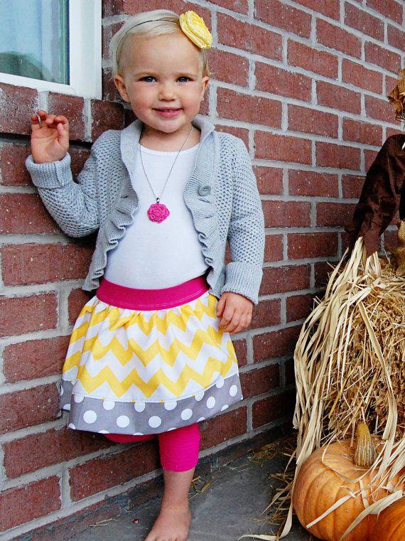 Little Girls Chevron Skirt with Polka Dot Ruffle. $20.00, via Etsy.