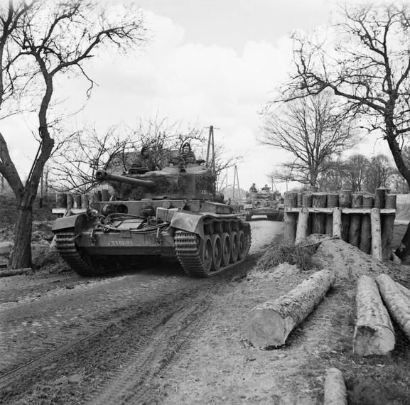 Comet tanks of 23rd Hussars, 11th Armoured Division, advancing through the Weser bridgehead at Petershagen, 7 April 1945.