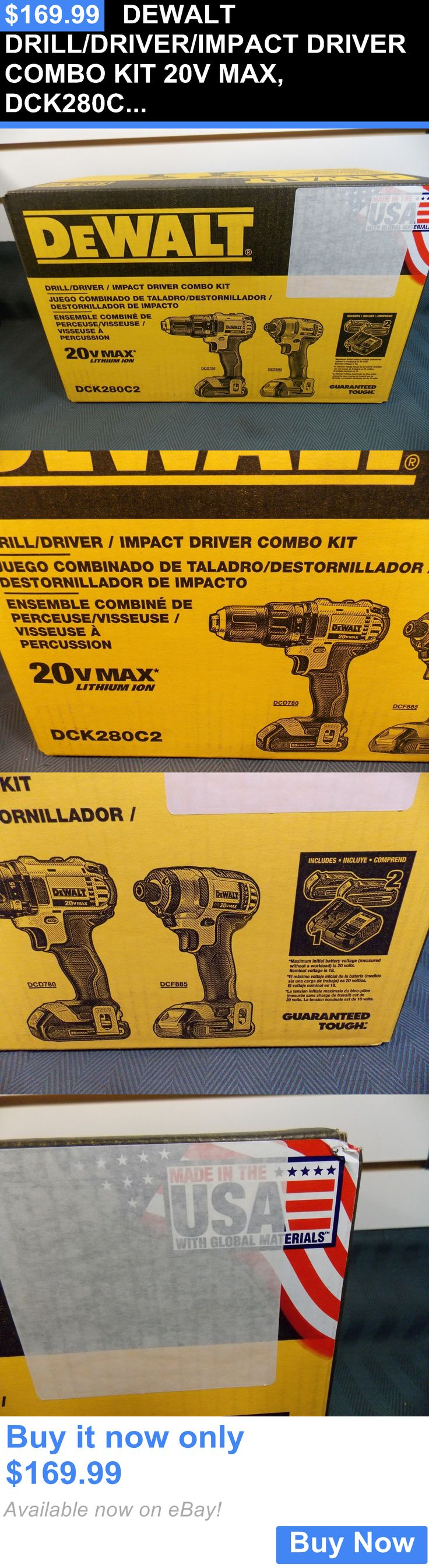 tools: Dewalt Drill/Driver/Impact Driver Combo Kit 20V Max, Dck280c2 BUY IT NOW ONLY: $169.99