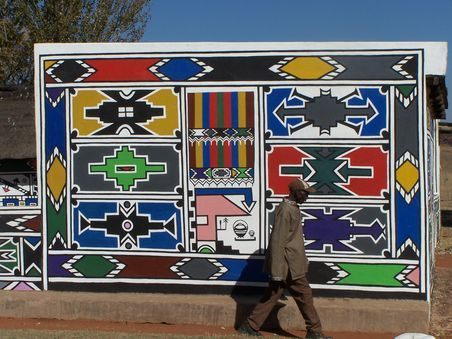 Ndebele (South African) patterns and mural.